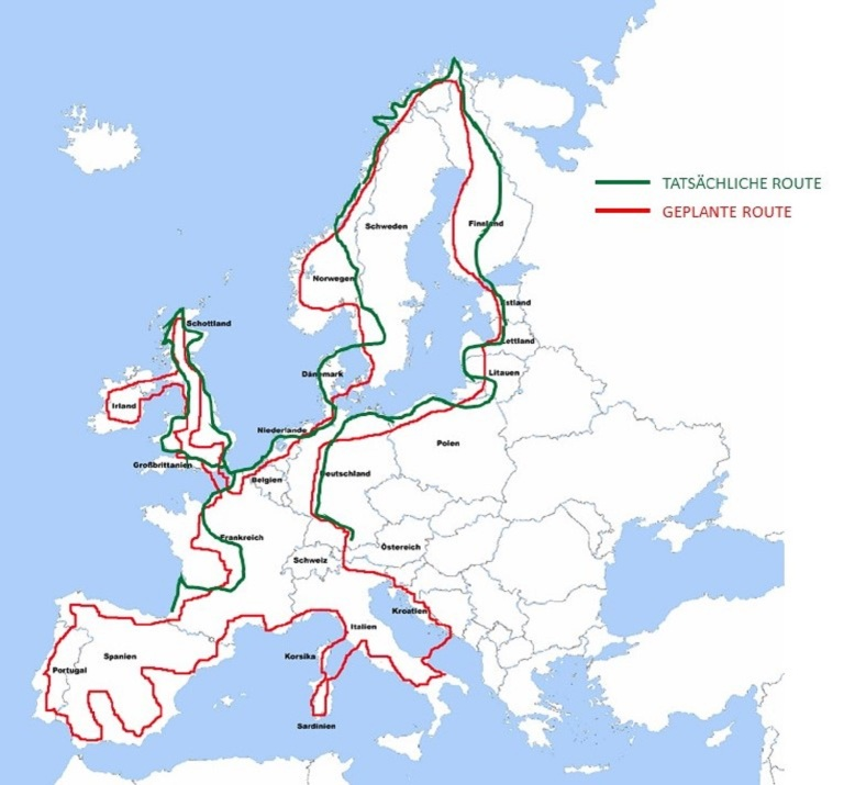 215 Tatsächliche Route